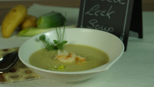 Leek and potato soup with prawns